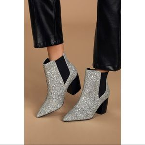 NEW Lulu's Silver Glitter Chunky Ankle Boot Bootie